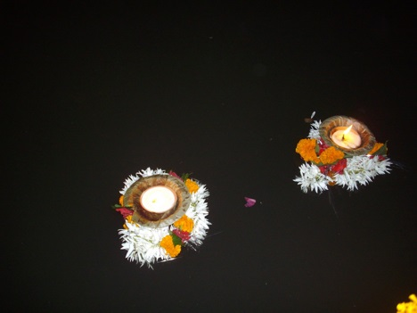 Diyas on Ganges river on Dev Deepavali festival