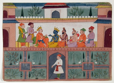 A king receives Krishna in his palace