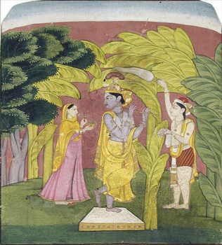 Krishna plays a flute beneath a banana tree